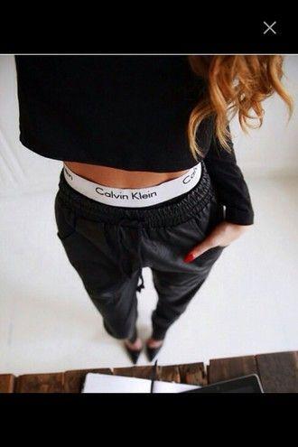 pants calvin klein calvin klein girl boxers sweater cropped sweater leather leather pants leather sweatpants heels pointed toe sweatpants