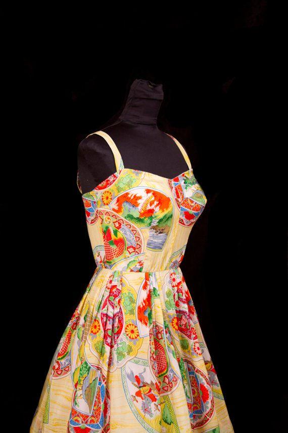 1950 39 s dress hawaiian casuals japanese print silk dress for Koi fish dress
