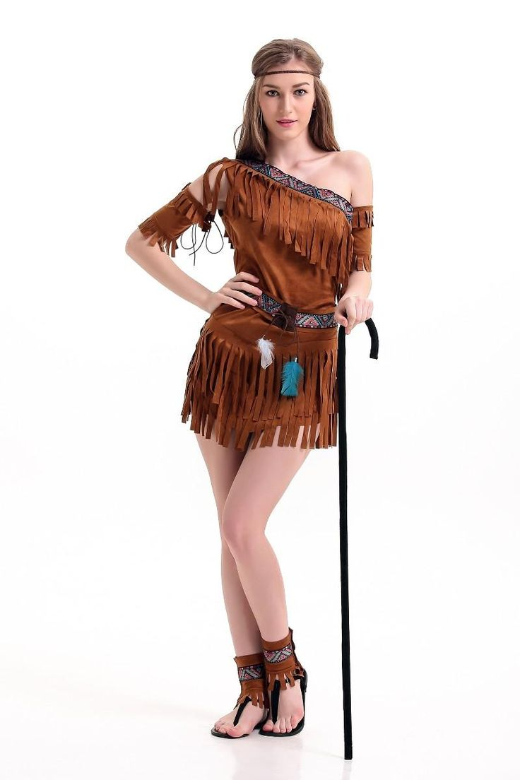 Home ladies costumes rodeo gal costume - Wholesale Halloween Costume Ladies Pocahontas Native American Indian Wild West Fancy Dress Sexy Halloween Party Indian Princess Costumes Outfit Fancy Best