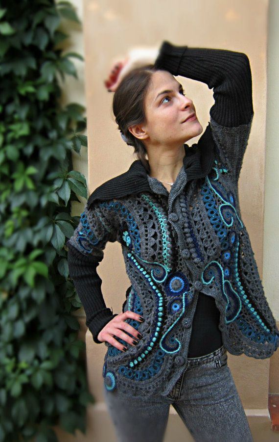 Gray and Blue Crochet Sweater Freeform Crochet by MARTINELI