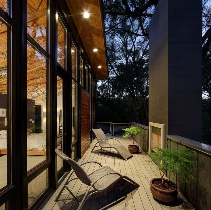 Mid Century Modern Beautiful Balcony With Grey Rattan Chaises And Outdoor Fireplaces Also Grey Timber Deck Design Ideas: Warm Elegance Interiors, Midvale Courtyard House