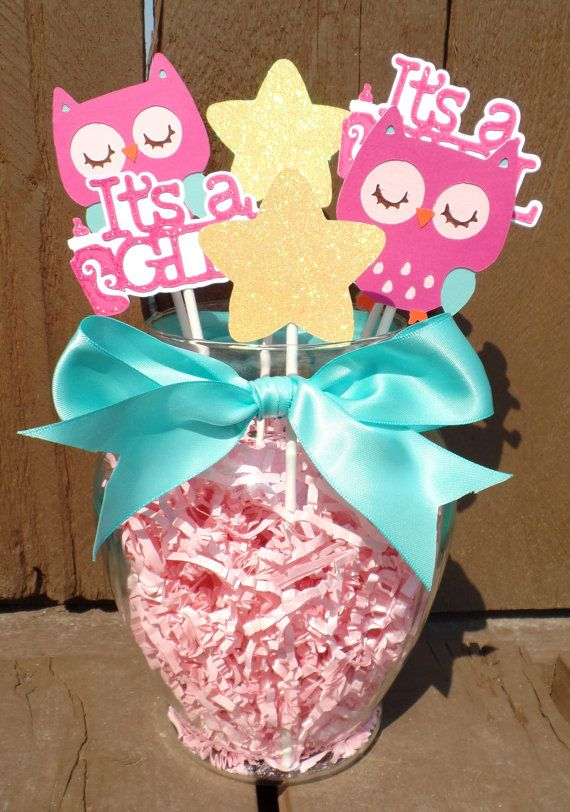 Teal And Pink Owl Centerpiece Owl Baby Shower By JsCraftDesigns