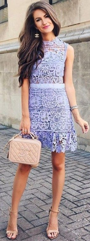 #summer #preppy #outfits | Purple Lace Little Dress