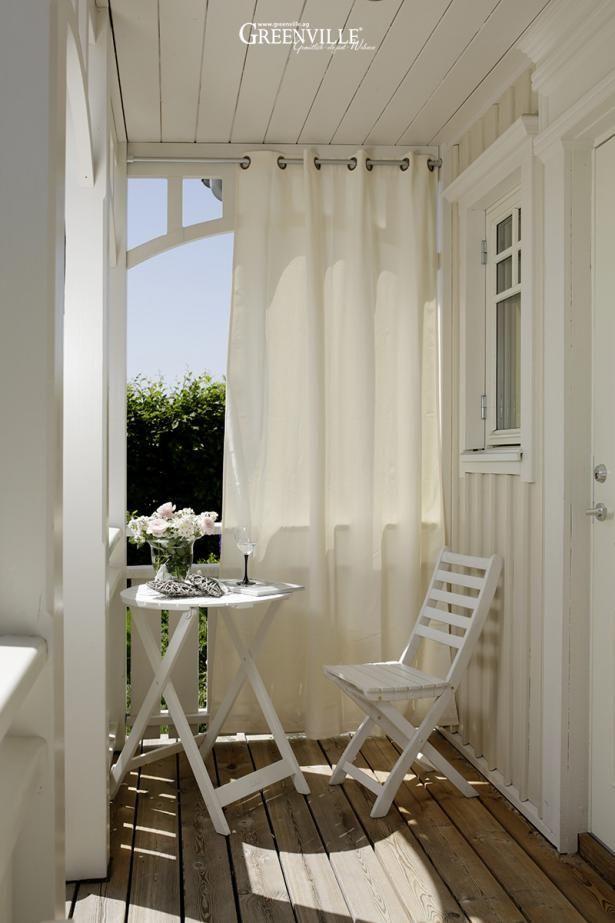 Außenvorhänge schützen vor Sonne, Wind und Regen.