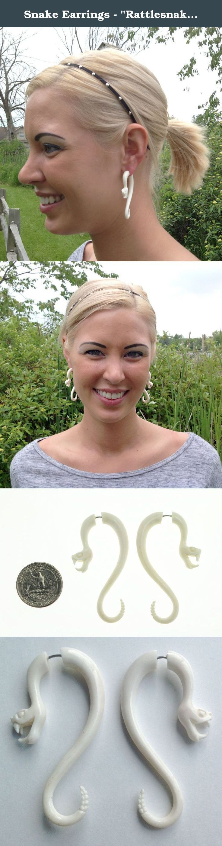 """Snake Earrings - """"Rattlesnake"""" - Bone - Organic - Detailed Snake Earrings Unisex By Primal Distro. We sell fabulous natural, eco-friendly jewelry. Our designs are hand made with loving care. There are many styles to choose from! Thanks for taking the time to check us out!."""