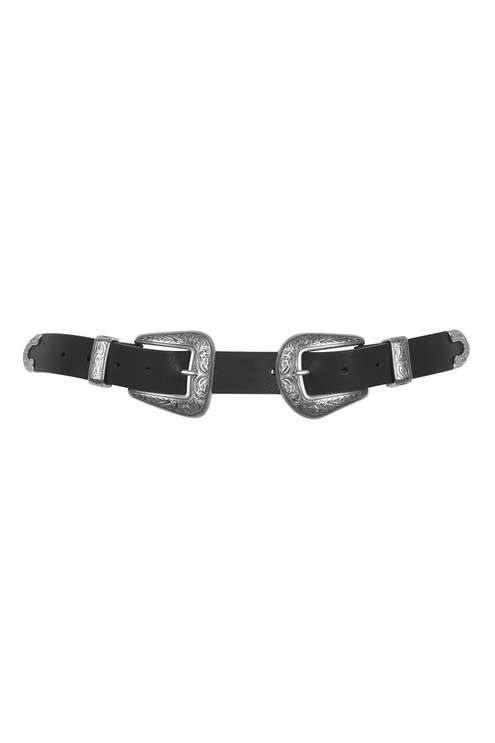 Adopt on-trend western details into your wardrobe with this PU leather-look belt. The western style and double metal buckle makes it an easy choice for adding edge to your outfit. #Topshop