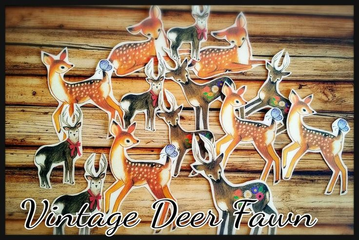 Vintage Deer Fawn Stickers,Kitsch Dolls Scrapbook Card Planner Decor Stickers