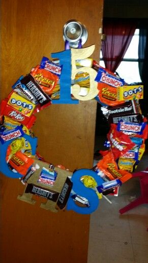 Candy Wreath made for a graduation