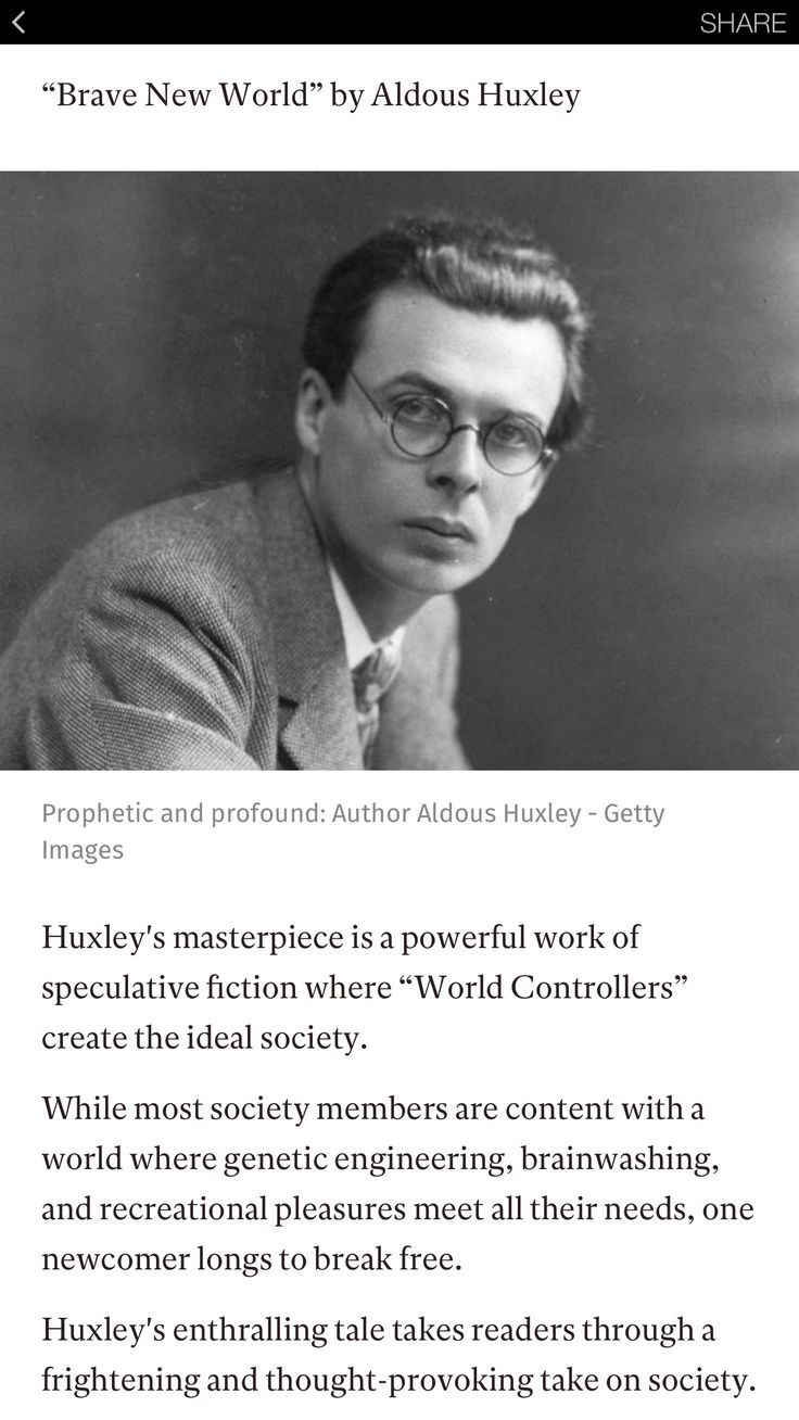 the depiction of the society in brave new world by aldous huxley Brave new world by aldous huxley in brave new world on the place of the individual in a scientifically controlled society, a theme huxley would.