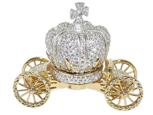Royal crystal Cinderella fairy tale carriage cart trinket box with Swarovski crystals.
