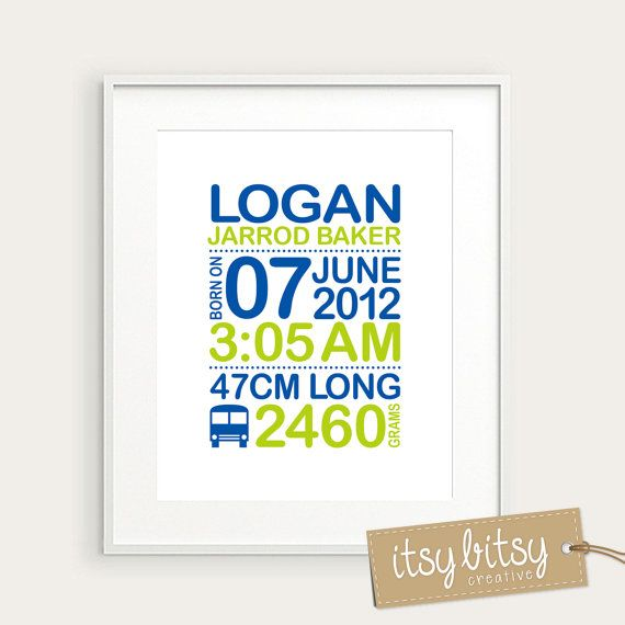 Personalized Boys Birth Print 8x10 Nursery by ItsyBitsyCreative, $15.00