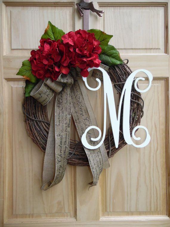 hydrangea wreath.grapevine wreath.burlap wreath.monogram wreath.outdoor…