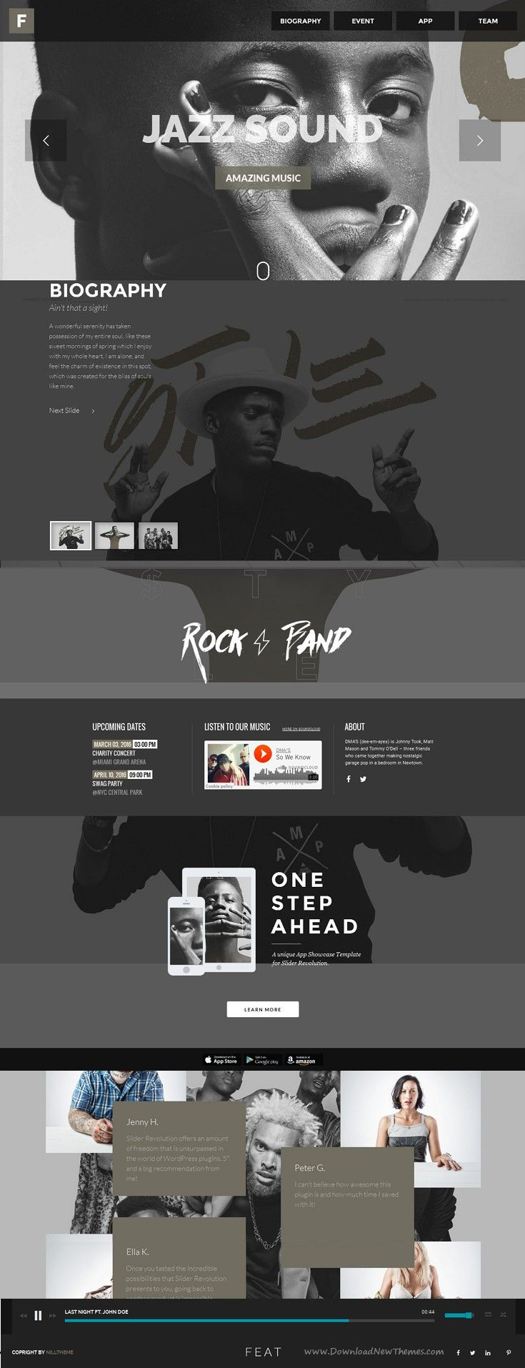 Feat is beautiful WordPress Themes For Musicians, #music, band, events, radio, magazine and #news #website. Download Now!