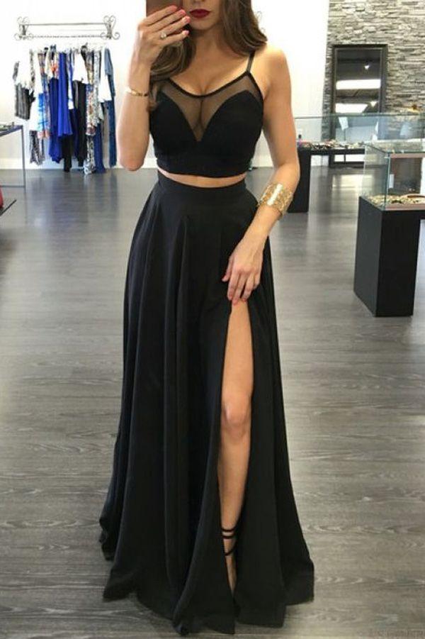 Black Prom Dresses,Prom Dresses Long,Cheap Prom Dresses for Women, Party Dresses, Evening Dresses,Gowns Prom,2 pieces prom dress side slit prom Dress,long prom dress,party dresses,Prom Gown,SVD306