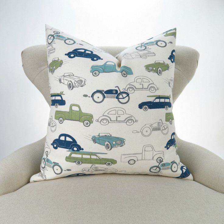 Vintage Cars Pillow Cover -MANY SIZES- Navy Blue Green Cushion Cover, Kids Room, Boys nursery, Retro Rides Felix Premier Prints, FREESHIP by DeliciousPillows on Etsy https://www.etsy.com/listing/190174452/vintage-cars-pillow-cover-many-sizes