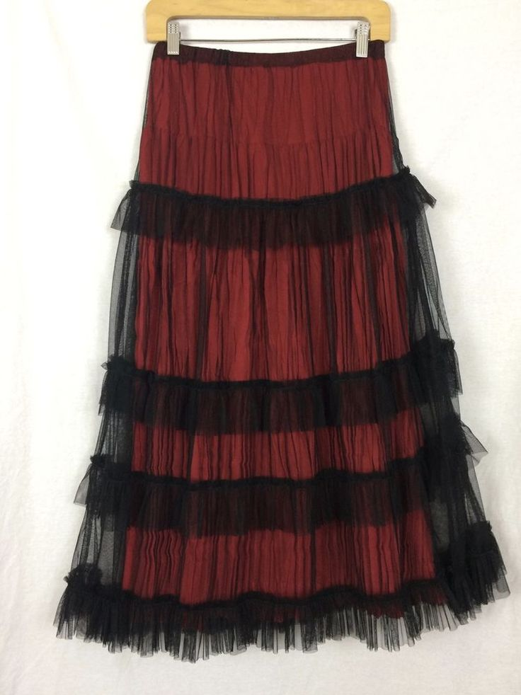 Red Broomstick Skirt w Black Tiered ruffled overlay XS-S Western Midi #Unbranded #PeasantBoho