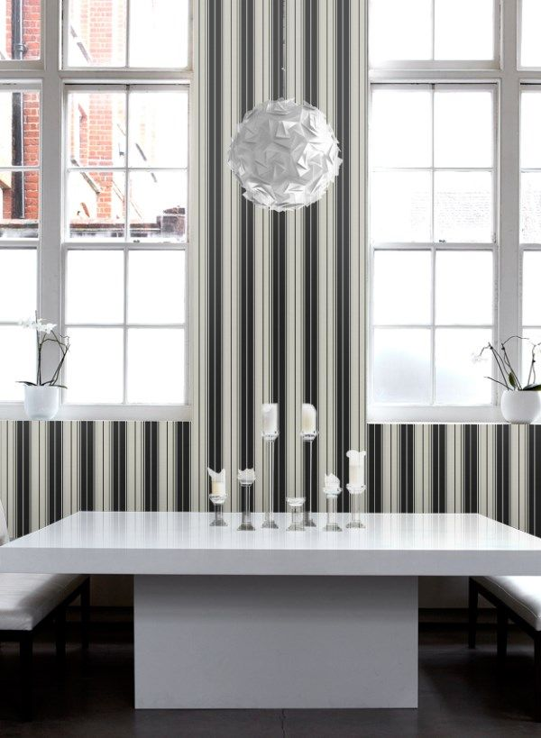 Sophisticated Italian vinyl wallpaper featuring multi width stripes in black and silvery grey. http://www.wowwallpaperhanging.com.au/striped-wallpaper/