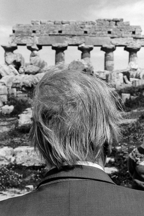 Jorge Luis Borges at the ruins of Selinunte, Sicily.