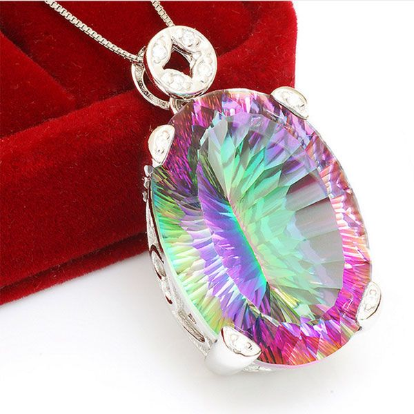Huge 42ct Genuine Concave Cut Vintage Rainbow Fire Mystic Topaz Pendant For Women Only $99 => Save up to 60% and Free Shipping => Order Now! #Bracelets #Mystic Topaz #Earrings #Clip Earrings #Emerald #Necklaces #Rings #Stud Earrings