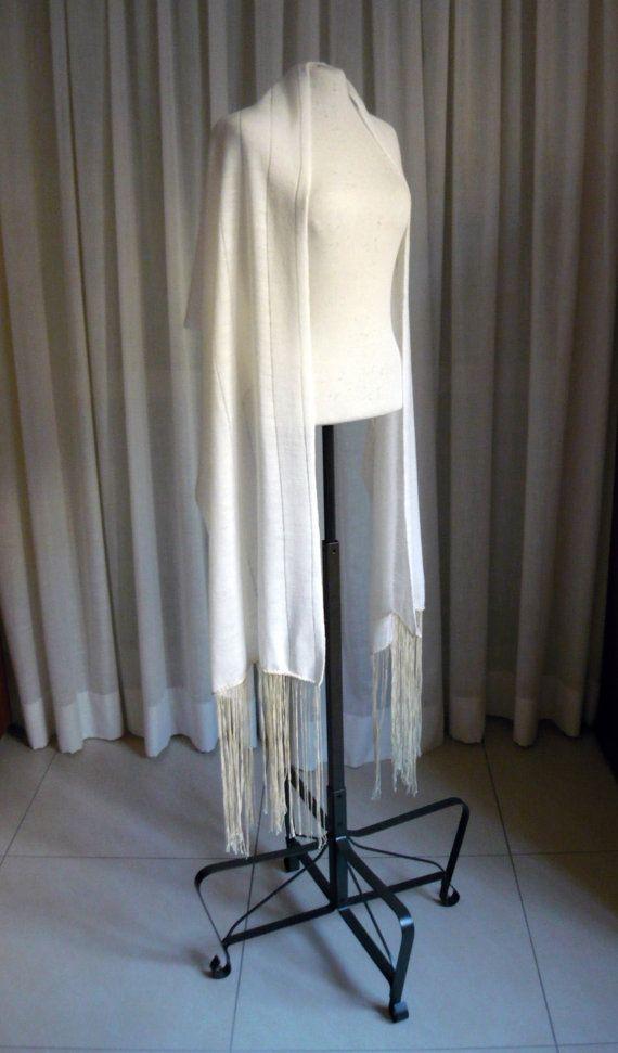 Ivory wool knit scarf/shawl/wrap with extra long fringe, light weight