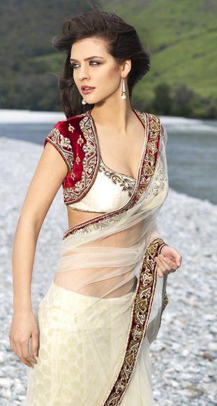 White sari from Seasons with designer jacket and blouse. ~ Indian Designer Saris