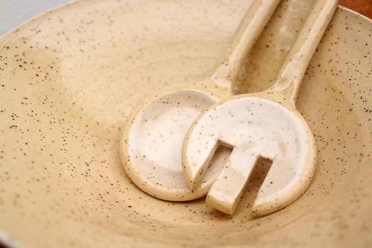 White ceramic salad bowl and servers - Stinging Nettle Studio