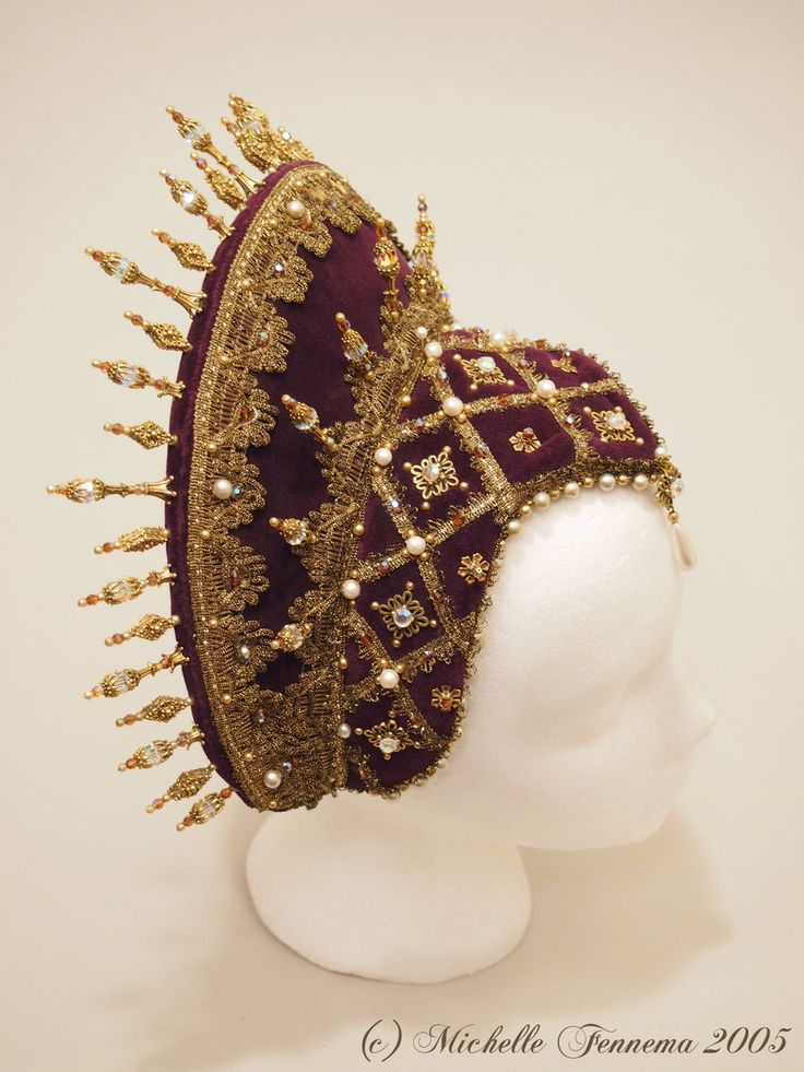 Aurora–Eggplant velvet, gold metallic trim, freshwater pearls, vintage crystals, swarovski crystals, gold findings.  French hood designed and created…