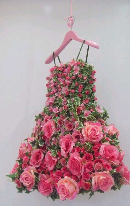 Pink rose and green ivy dress