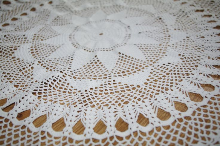Big cotton crocheted white doily Hand made round traycloth Lacework lace napkin Crochet Shabby Chic Made in Poland Polish folk art 80s by VintagePolkaShop on Etsy