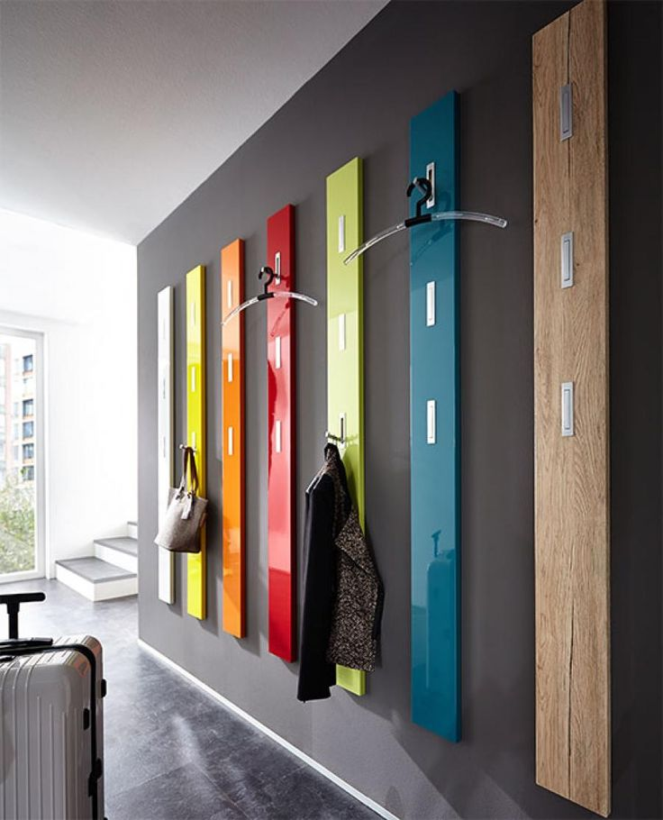 Germania Modern Colorado Coat Rack High Gloss or Wood Veneer Finish - Contemporary coat rack in 7 colour choices with 3 push to open chrome coat hooks