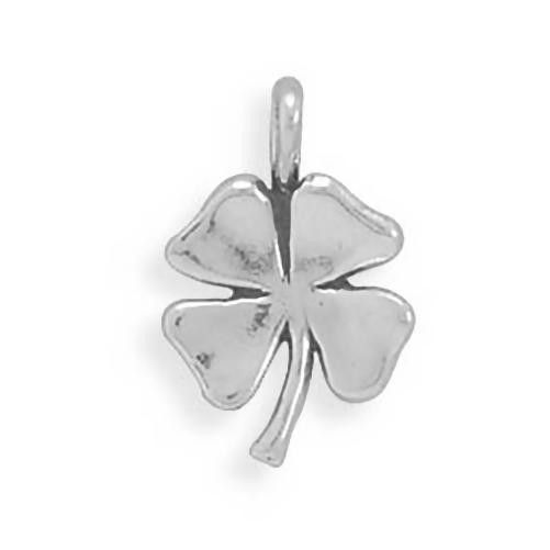 Four Leaf Clover Charm Sterling Silver Pendant Good Luck Lucky Plant
