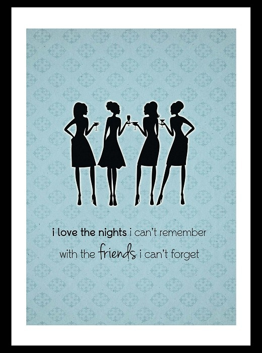 Vintage style shabby chic art print cocktail party