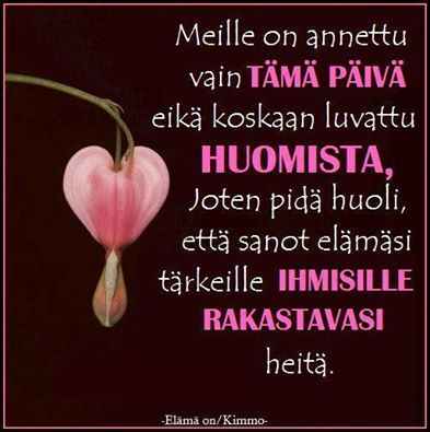 'We've been given only this day and never been promised about tomorrow, so be sure to tell people that matters to you that you love them' . In Finnish