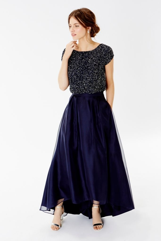 Coast 2016 Bridesmaid Collection | Pair an embellished navy crop top with a couture inspired length skirt