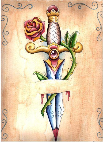 Dagger by Israels-daughter on deviantART sword rose thorns Tattoo Flash Art ~A.R.