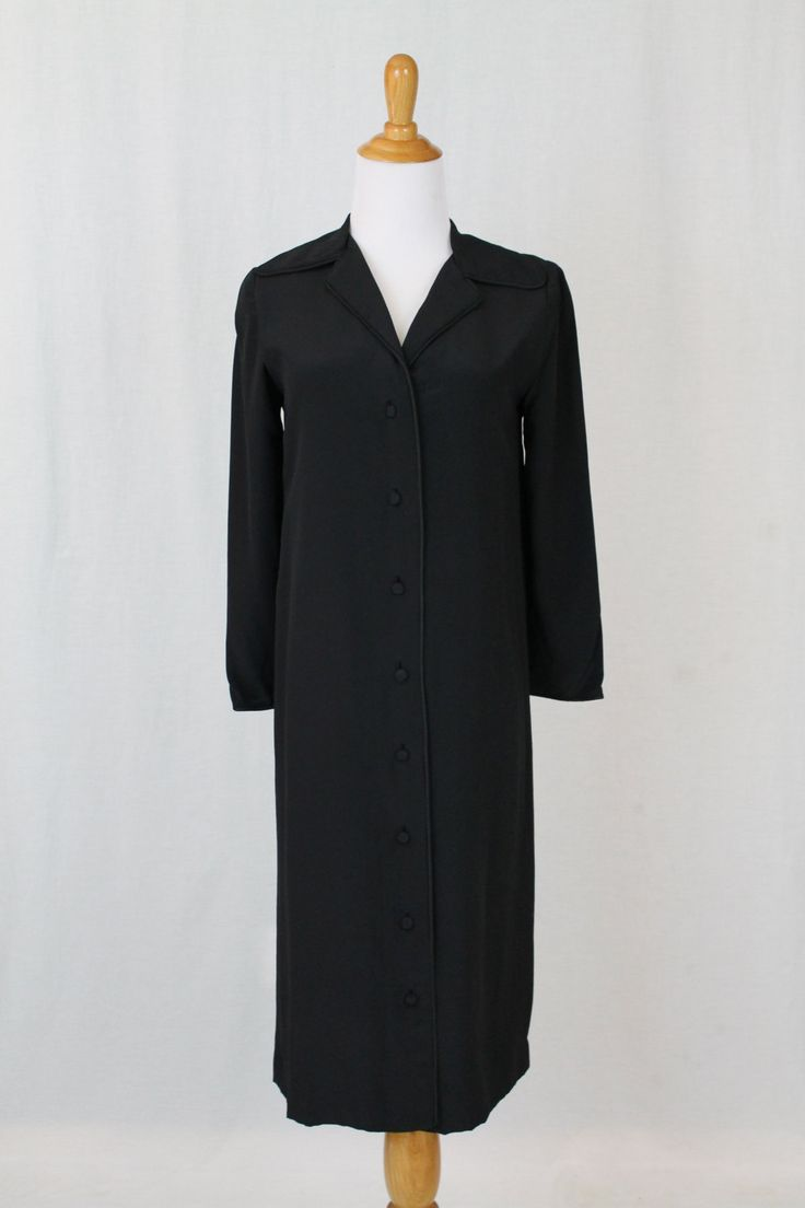 Vintage Bill Blass Black 100% Silk Below the Knee Coat Dress Petite Size Small by GlamArchive on Etsy