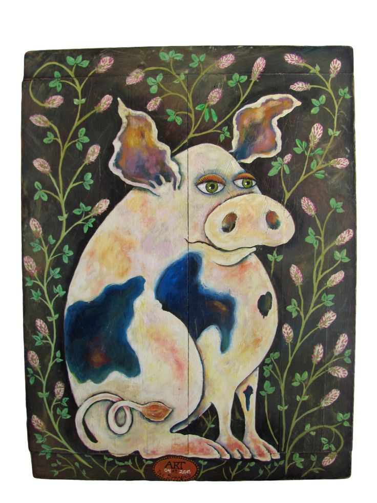 """Large FoLk ArT  """"PiGGy with Rabbit Foot Clover""""  Oil on Antique Wood Bread Board By Dee Sprague by mermaidmessenger on Etsy"""