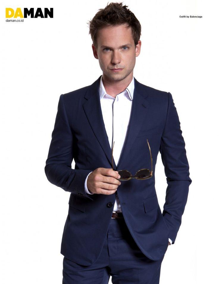 Da Man Magazine Patrick J. Adams Balenciaga Blue Suit