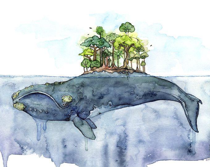 """Pittura dell'acquerello di balena - stampa intitolato, """"Senza fondo blu"""", Whale Island, Beach Decor, arte balena, balena stampa, balena, balena vivaio"""