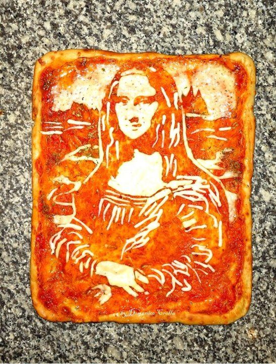 Pizza Art, Mona Lisa #Art #pizza
