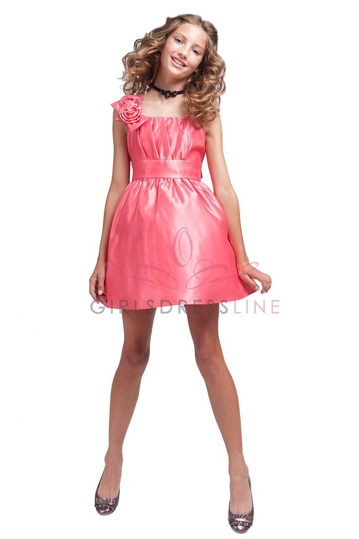 10 best flower girl jr bridesmaid dress inspiration images on coral satin one shoulder style mini junior bridesmaid dress jj1203 cr jj1203 cr 4095 ombrellifo Choice Image
