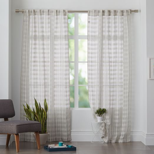 "This might be perfect- on Sale only $25 per panel at 96"" height - I like that it has some visual interest but also simple.  It's final sale though...Mid-Century Sheer Plaid Curtain"