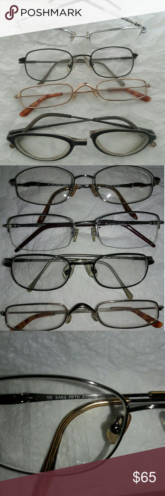 Vintage Designer Eyeglasses & Frames 5 pairs in good preowned condition...all prescription strength...(sorry don't know strength)...Anne Klein's need gluing together...gold pair are Readers, 1.00+, bronze pair are Saks Fifth Avenue, Burgundy are genuine Montblancs, and gunmetal are Sferoflex frames... Estate sale find...sold as is... Montblanc Accessories Glasses