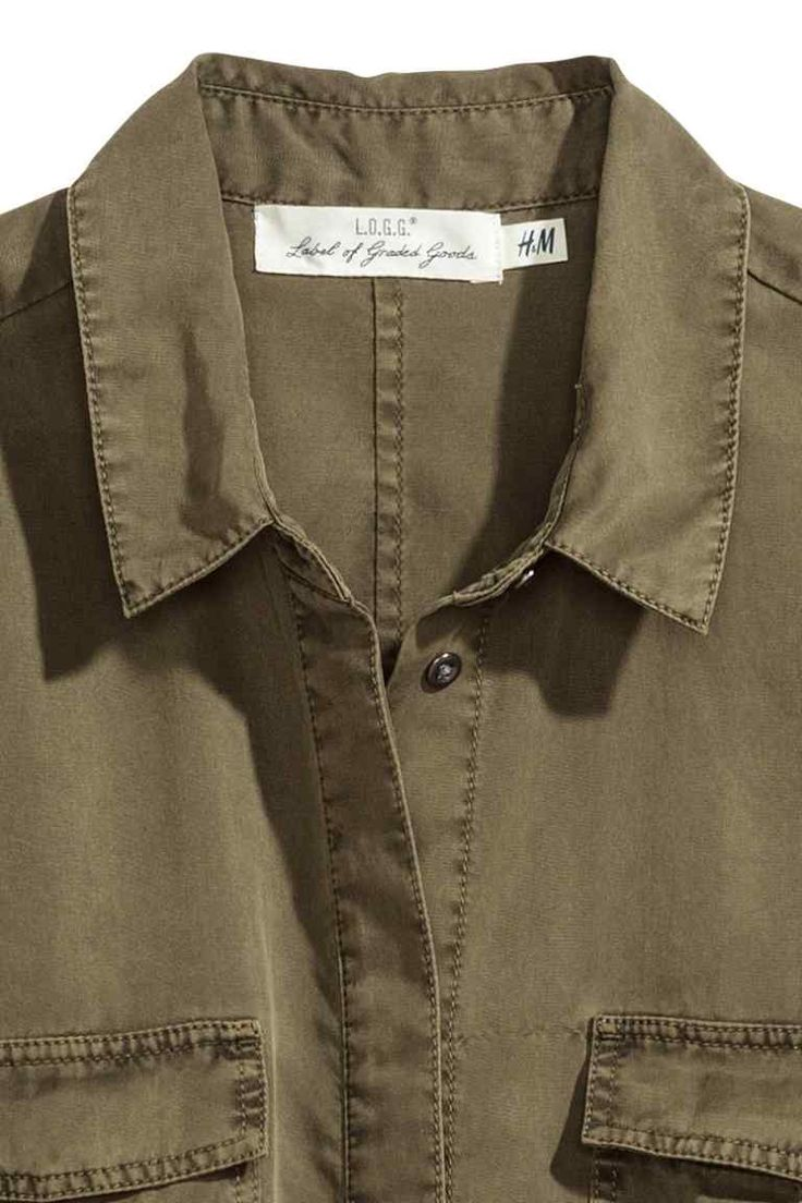 Платье-рубашка из лиоцелла - Хаки - Женщины | H&M RU