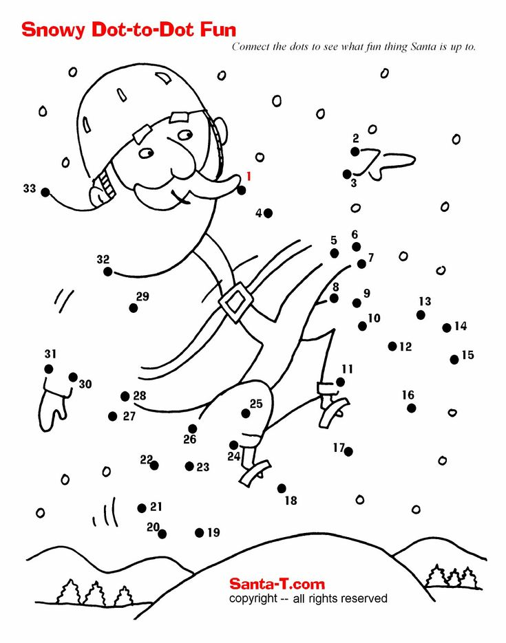 Snowboarding Santa Dot-to-dot