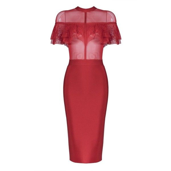 Honey couture fizz red mesh insert lace overlay midi bandage dress ($159) ❤ liked on Polyvore featuring dresses, high-neck dress, bandage dresses, sexy cocktail dresses, red bandage dresses and red midi dress