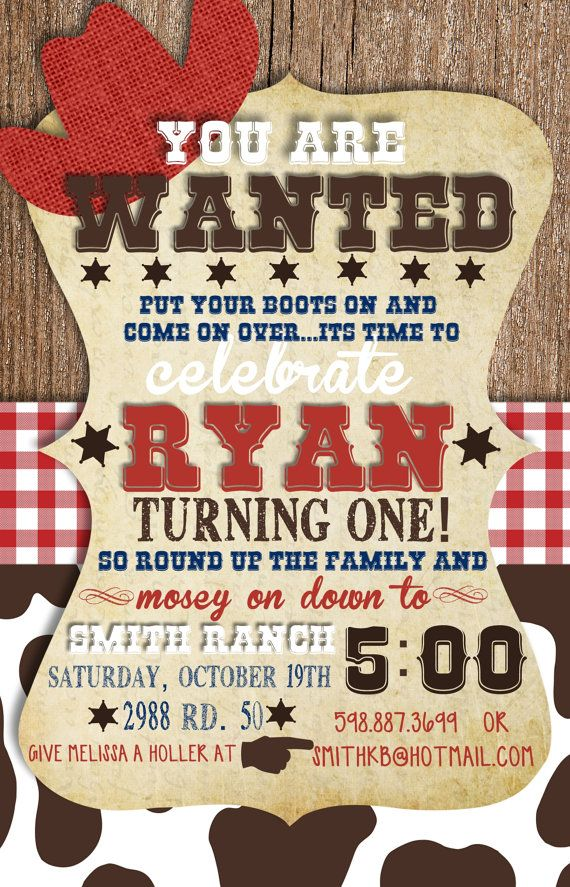 Hey, I found this really awesome Etsy listing at https://www.etsy.com/listing/162542269/custom-cowboy-birthday-invitation
