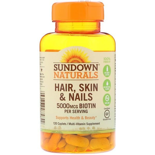 Sundown Naturals مكمل غذائي للشعر والبشرة والأظافر 120 كبسولة Turmeric Beauty Vitamins Natural Vitamins