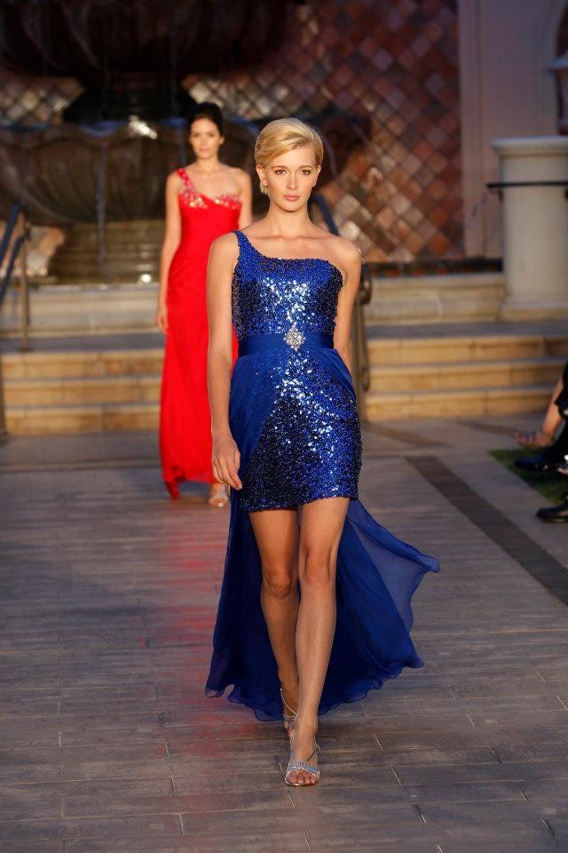 One Shoulder sequined dress- Royal Blue