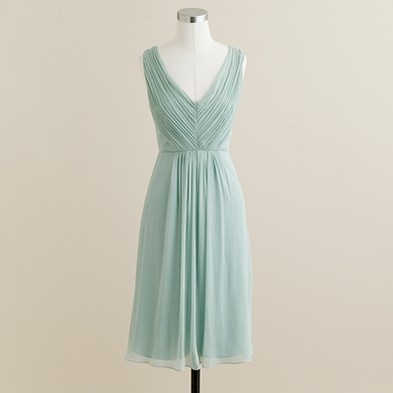 What: Louisa Dress in Silk Chiffon  Color: Dusty Shale, also casablanca Blue, Matisse Blue, and Newport Navy  Where: J. Crew